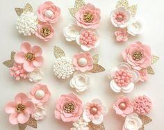 Hand made blush felt 3d flowers/roses & gold glitter leaves.