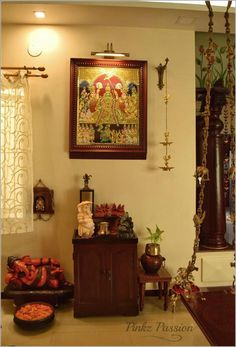 Pinkz Passion : Easy going yet undeniably Stylish (Home Tour of Rupaa Ram) Decor, Indian Inspired Decor, Pooja Rooms, Temple Design For Home, Indian Decor, Indian Home Interior, Traditional Home Decorating, House Interior Decor, Pooja Room Door Design