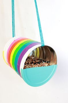 Duct Tape DIY Recycled Can Birdfeeder craft #recyclingforkids