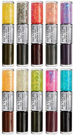 upcoming nail polish duos from revlon: rock candy finish flakies with creme polishes! doesn't come out til august 2012 - dang!