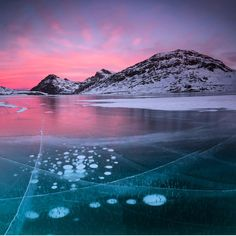 Photographic Print: Panorama of ice bubbles and frozen surface of Lago Bianco at dawn, Bernina Pass, canton of Graubund by Roberto Moiola : Ice Bubble, St Moritz, Future Travel, Find Art, Framed Artwork, Dawn, Bubbles, Mountains, Places