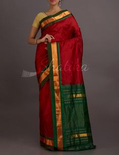 Rupal Auspicious Colors Solid Gold Border Pure #NarayanpetSilkSaree
