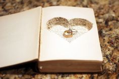 25 Ring Bearer Pillow Alternatives - Upcycled Treasures I like this book idea because books are a big deal in my life (being a writer and all) lol. maybe a small new testament for the ring bearer Ring Pillow Wedding, Wedding Ring Box, Wedding Book, Ring Bearer Pillows, Ring Bearer Box, Ring Pillows, Wedding Proposals, Rings For Girls, Rings Cool