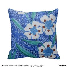 Ottoman Iznik blue and floral white ceramic tile Throw Pillow