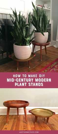Mid-Century Plant Stands Learn how to make these easy DIY Mid-Century Modern Plant Stands with trays from Target!Learn how to make these easy DIY Mid-Century Modern Plant Stands with trays from Target! Modern Plant Stand, Diy Plant Stand, Indoor Plant Stands, Retro Home Decor, Easy Home Decor, Diy Simple, Easy Diy, Minimaliste Tiny House, Diy Projects
