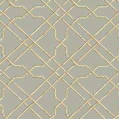 Bamboo Trellis Wallpaper in Grey design by York Wallcoverings