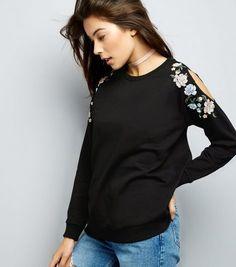 Black Floral Embroidered Cold Shoulder Jumper  | New Look