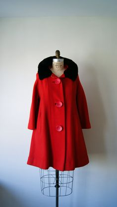 ON SALE Red Wool Coat Vintage 1960s Winter Coat with Black