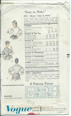 Vogue 9751 Sewing Pattern Blouse Vintage 1959 Sew Charming 50's RARE Uncut 10 31 | eBay