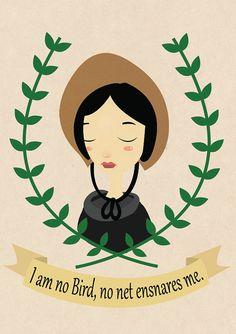 Jane Eyre quote, Charlotte bronte, illustration, home decor, victorian via Etsy