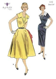 2450fb297b8 Vintage 1950 s Sewing Pattern Dress with Detachable Collar Bust 34