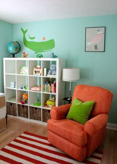 Boy nursery. (restyled from a feminine, yellow and blue nursery for the new baby boy)   Via Apartment Therapy