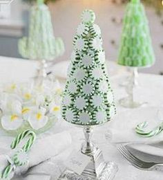 icecream cone frosted with peppermints - such a cute tree! Could glue the peppermints on to as a decoration. :)