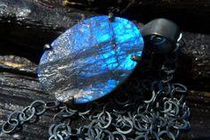 labradorite druzy necklace Brazilian jewelry by BeijoFlor on Etsy, $98.00