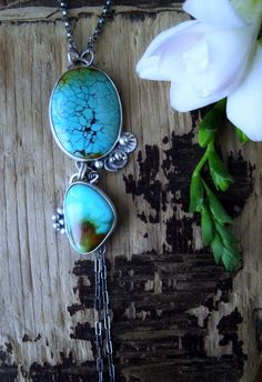 Paradise Falling Necklace - kingman, turquoise, sterling silver