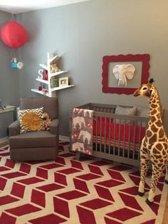 Circus-themed nursery in red and grey - Photo via Project Nursery.