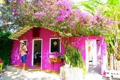 O que fazer em Trancoso Bahia Porto Seguro Praias dicas de viagem turismo costa do descobrimento Pink Houses, Little Houses, Mexican Courtyard, Hot House, Brazil Culture, Spanish Style Homes, Beach Bungalows, Model Homes, Simple House
