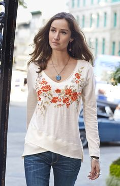Friends Always Tunic - cotton slub tee with flowing floral embroidery.  https://www.stitchfix.com/referral/10255097?sod=w&som=c