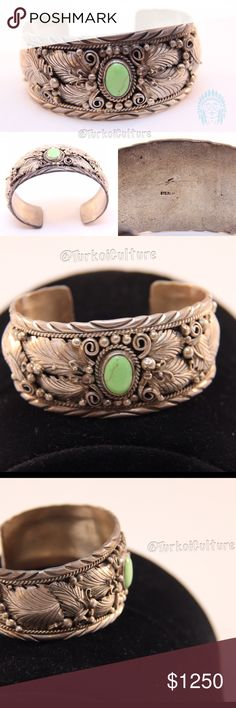 """Old Pawn Antique Green Apple Turquoise Bracelet This Rare Apple green turquoise stone is highly valued equally if not as much as turquoise. Found in Nevada minds, the copper levels create this unique eye catching color. This sterling silver design makes this hand crafted vintage piece, a great asset to the Vintage Green Apple Turquoise set. It measures 1.4""""  by 2.75"""", stamped sterling, signed by the artist. native american Jewelry Bracelets"""