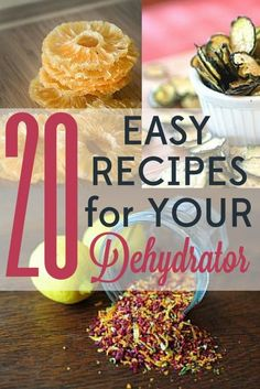 These 20 easy dehydrator recipes are quick to put together and will leave you wondering how you ever lived without this fun tool! Oh, and did I mention that they& also delicious? Jerky Recipes, Raw Food Recipes, Healthy Recipes, Dehydrated Food Recipes, Muffin Recipes, Canning Food Preservation, Preserving Food, Fruit And Veg, Fruits And Veggies