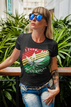 Marijuana Design T-Shirt A Great Gift For Stoners I Took My | Etsy Edgy Outfits, Fashion Bracelets, Great Gifts, Womens Fashion, T Shirt, Etsy, Design, Supreme T Shirt, Tee Shirt
