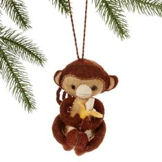 Monkey Felt Holiday Ornament - Silk Road Bazaar (O) Women in Kyrgyzstan made this ornament by hand from felt. With a loop for hanging, the ornament measures 4.5 inches tall.