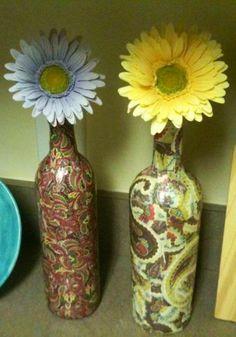 Empty Wine Bottle Crafts   ... CHEAP: DIY Tutorial: Scrapbook Paper & Mod-Podge Wine Bottle Makeovers