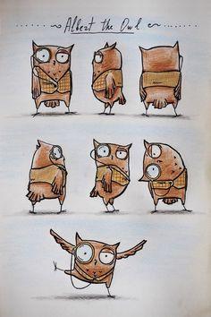 Nastik OrangeCat: Albert the Owl Owl Illustration, Character Illustration, Illustrations, Owl Doodle, Doodle Art, Drawing Cartoon Characters, Character Drawing, Cartoon Drawings, Owl Art