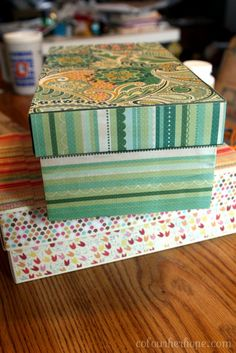 Mod Podge shoe boxes! - I am so glad I hoard this stuff. ;0)