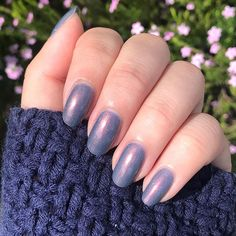 """Sarah on Instagram: """"I fell in love with Velvetine from @cirquecolors as soon as I saw it 💗 it's the most gorgeous dusty blue with a pink reflect. Shown here in…"""" I Fall In Love, Falling In Love, Dusty Blue, Nails, Pink, Beauty, Instagram, Finger Nails, Ongles"""