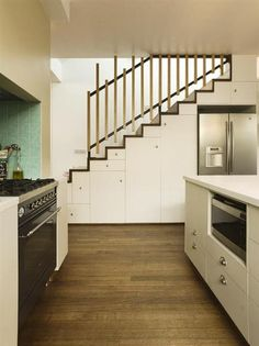 Storage under stairs.  I think I need to do this for my pantry and to fit my fridge in the kitchen.