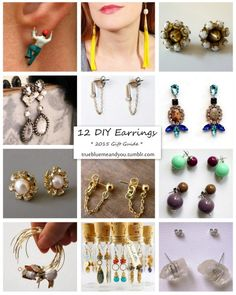 #DIY 12 Favorite Earrings. There are lots of excellent easy knockoffs in this #roundup. #knockoffs #diy_jewelry #earrings