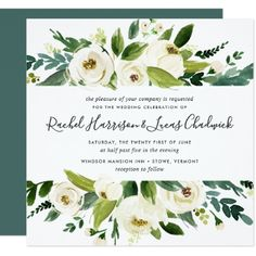 Alabaster Floral Wedding Invitation | Square - spring gifts beautiful diy spring time new year