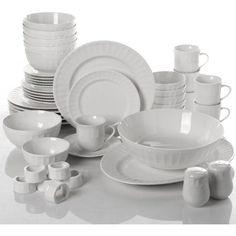 Dinnerware Set 46 Piece Plates Dishes Bowls Kitchen China Gibson Home Serveware… Dinnerware Sets Walmart, Dinnerware Sets For 12, Square Dinnerware Set, Farmhouse Dinnerware Sets, Dinnerware Ideas, Gibson Home, Dish Sets, Plates And Bowls, Tableware