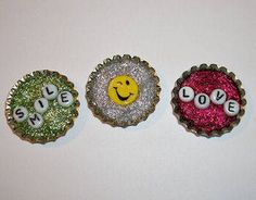 Message in the Bottle Cap Magnet...oh what you can do with a little glitter glue!   ...An idea for an Activity Gift Box
