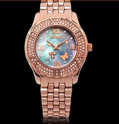 Price:$99.00 Gold rose pearl stainless steel waterproof female Watch