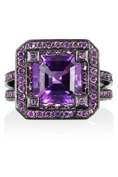 I believe in a thing called LOVE! blackened white gold amethyst ring solange azagury-partridge net-a-porter Purple Rings, Purple Jewelry, Amethyst Jewelry, I Love Jewelry, White Gold Rings, Amethyst Rings, Jewelry Rings, Purple Haze, Shades Of Purple