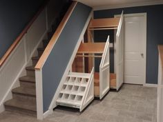 Mudroom Gorgeous Under Stair Storage For Coats Gray Stone Tiled Floor White Pull Out Coak Hanger One For Shoe Rack Clever Entryway Storage