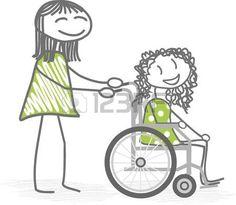 niños discapacitados: Una persona que ayuda a una silla de ruedas personas con discapacidad