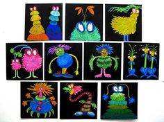 Crazy characters using chalk pastels on black paper with shading. Floozles by La… Crazy characters using chalk pastels on black paper with shading. Floozles by Lance Cardinal. Monster Art, Monster Books, Art 2nd Grade, Arte Elemental, Classe D'art, Theme Halloween, School Art Projects, Art Lessons Elementary, Elementary Teaching