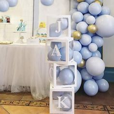 Baby Shower Decorations balloon boxes Jumbo Clear Transparent | Etsy Baby Shower Azul, Fiesta Baby Shower, Baby Shower Balloons, Boy Shower, First Birthday Party Decorations, 1st Birthday Parties, Birthday Ideas, Balloon Box, Moon Balloon