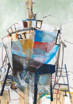 Winter refit by Karen Stamper Abstract Landscape Painting, Abstract Drawings, Abstract Art, Art Du Collage, Collage Art Mixed Media, Art Environnemental, Boat Drawing, Boat Painting, Expressive Art