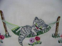 Vintage Hand Embroidered Pillowcases Kittens by shabbyshopgirls, $24.99
