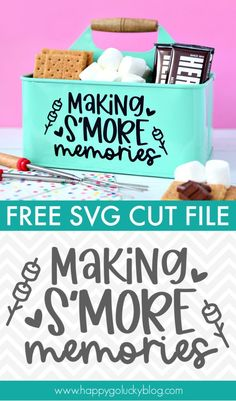 This fun S'mores Caddy is sure to be a hit all summer long.  Just fill with all your favorite s'more ingredients and light up the fire pit! Vinyl Crafts, Vinyl Projects, Craft Projects, Cricut Project Ideas, Wood Crafts, Circuit Crafts, Circuit Projects, Cricut Craft Room, Cricut Vinyl