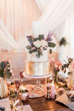 Modern white and lavender wedding cake