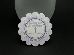 BAPTISM tags  Lavender & lime green  RESERVED by JustScrapsNThings, $15.00