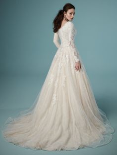 Shiloh Leigh Wedding Dress from Maggie Sottero Maggie Sottero Wedding Dresses, Modest Wedding Gowns, A Line Wedding Dress With Sleeves, Frack, Wedding Dresses Photos, Bridal Gowns, Nice Dresses, Formal Dresses, Party