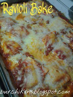 Ravioli Bake     1 bag (25 Oz. Bag) Frozen Ravioli     1 jar (24 Oz. Jar) Marinara Sauce      2 cups Shredded Mozzarella Cheese     Parmesan Cheese, For Sprinkling