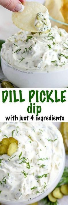 4 Ingredient Dill Pickle Dip I've made this so many times! This Dill Pickle dip is one of our favorites needing only 4 ingredients and 5 minutes! The perfect quick dip for parties and snacks! Dips Für Chips, Chips Dip, Potato Chips, Dip Recipes, Snack Recipes, Cooking Recipes, Cooking Tips, Easy Cooking, Paleo Recipes