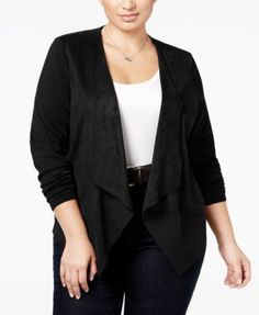d5a57176a7846 Inc International Concepts Plus Size Faux-Suede Draped Cardigan